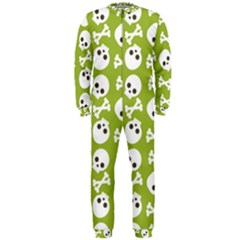Skull Bone Mask Face White Green OnePiece Jumpsuit (Men)