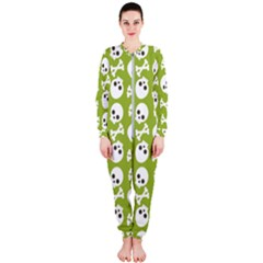 Skull Bone Mask Face White Green OnePiece Jumpsuit (Ladies)