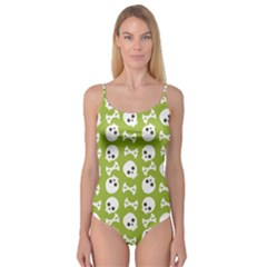 Skull Bone Mask Face White Green Camisole Leotard