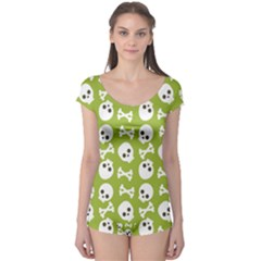 Skull Bone Mask Face White Green Boyleg Leotard