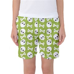 Skull Bone Mask Face White Green Women s Basketball Shorts