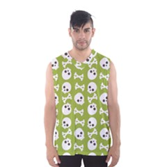 Skull Bone Mask Face White Green Men s Basketball Tank Top