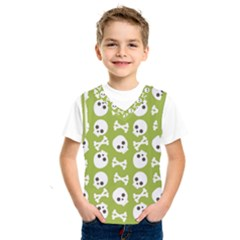 Skull Bone Mask Face White Green Kids  SportsWear