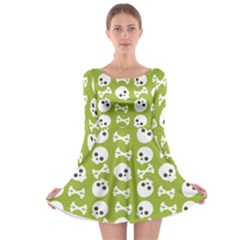 Skull Bone Mask Face White Green Long Sleeve Skater Dress