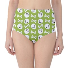 Skull Bone Mask Face White Green High-Waist Bikini Bottoms