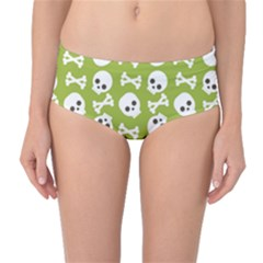 Skull Bone Mask Face White Green Mid-Waist Bikini Bottoms