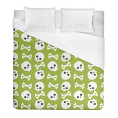 Skull Bone Mask Face White Green Duvet Cover (Full/ Double Size)