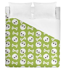 Skull Bone Mask Face White Green Duvet Cover (Queen Size)