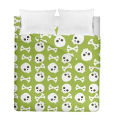 Skull Bone Mask Face White Green Duvet Cover Double Side (Full/ Double Size)
