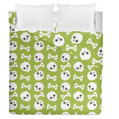 Skull Bone Mask Face White Green Duvet Cover Double Side (Queen Size)