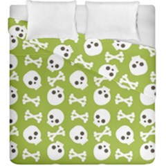 Skull Bone Mask Face White Green Duvet Cover Double Side (King Size)