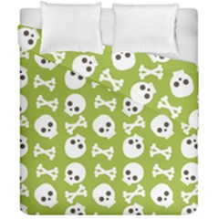 Skull Bone Mask Face White Green Duvet Cover Double Side (California King Size)