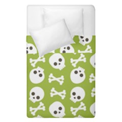 Skull Bone Mask Face White Green Duvet Cover Double Side (Single Size)