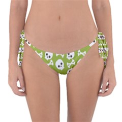 Skull Bone Mask Face White Green Reversible Bikini Bottom