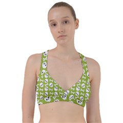Skull Bone Mask Face White Green Sweetheart Sports Bra