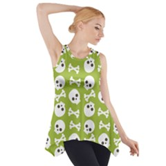 Skull Bone Mask Face White Green Side Drop Tank Tunic