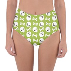 Skull Bone Mask Face White Green Reversible High-Waist Bikini Bottoms
