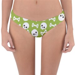 Skull Bone Mask Face White Green Reversible Hipster Bikini Bottoms