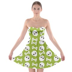 Skull Bone Mask Face White Green Strapless Bra Top Dress