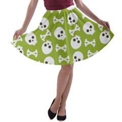 Skull Bone Mask Face White Green A-line Skater Skirt