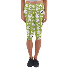 Skull Bone Mask Face White Green Capri Yoga Leggings
