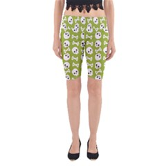 Skull Bone Mask Face White Green Yoga Cropped Leggings