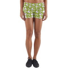 Skull Bone Mask Face White Green Yoga Shorts