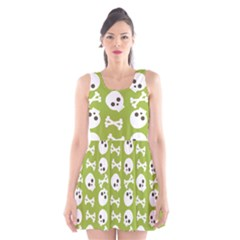 Skull Bone Mask Face White Green Scoop Neck Skater Dress