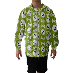 Skull Bone Mask Face White Green Hooded Wind Breaker (Kids)
