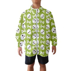 Skull Bone Mask Face White Green Wind Breaker (Kids)