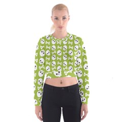 Skull Bone Mask Face White Green Cropped Sweatshirt