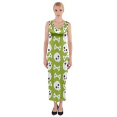 Skull Bone Mask Face White Green Fitted Maxi Dress