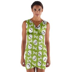 Skull Bone Mask Face White Green Wrap Front Bodycon Dress