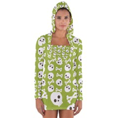 Skull Bone Mask Face White Green Long Sleeve Hooded T Shirt