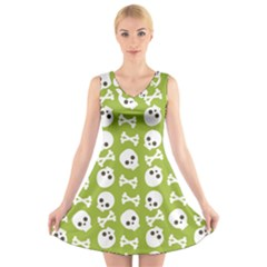 Skull Bone Mask Face White Green V-Neck Sleeveless Skater Dress