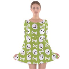 Skull Bone Mask Face White Green Long Sleeve Velvet Skater Dress