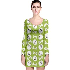 Skull Bone Mask Face White Green Long Sleeve Velvet Bodycon Dress