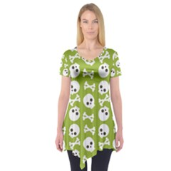 Skull Bone Mask Face White Green Short Sleeve Tunic