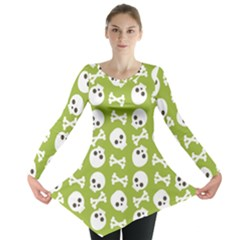 Skull Bone Mask Face White Green Long Sleeve Tunic