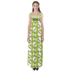 Skull Bone Mask Face White Green Empire Waist Maxi Dress