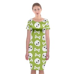 Skull Bone Mask Face White Green Classic Short Sleeve Midi Dress