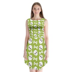 Skull Bone Mask Face White Green Sleeveless Chiffon Dress