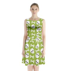 Skull Bone Mask Face White Green Sleeveless Waist Tie Chiffon Dress