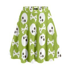 Skull Bone Mask Face White Green High Waist Skirt