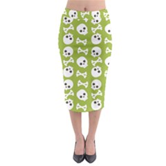 Skull Bone Mask Face White Green Midi Pencil Skirt