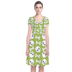Skull Bone Mask Face White Green Short Sleeve Front Wrap Dress