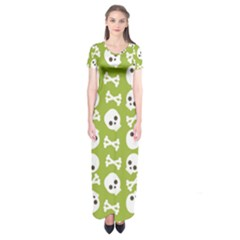 Skull Bone Mask Face White Green Short Sleeve Maxi Dress