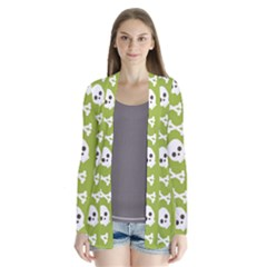 Skull Bone Mask Face White Green Drape Collar Cardigan
