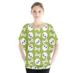 Skull Bone Mask Face White Green Blouse