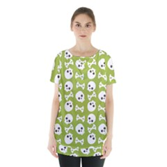 Skull Bone Mask Face White Green Skirt Hem Sports Top